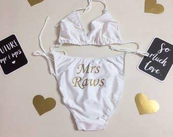 Personalised white or black bikini, any text.  Honeymoon or hen spa day, great birthday gift.
