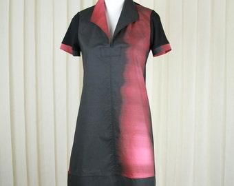 Black-Red Dress with collar • Knee Length Dress • Black Dress • Office Dress