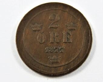 Sweden 1877 Bronze 2 Ore Coin.
