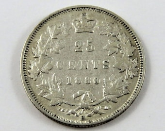 CANADA 1880 H Sterling Silver 25 Cents Coin.