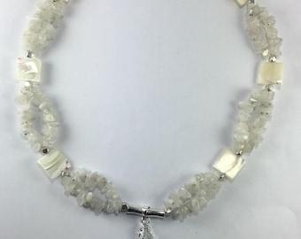 Handmade Genuine Moonstone necklace Mother of pearl necklace Geode slice pendant Druzy pendant Druzy necklace Geode necklace White stone