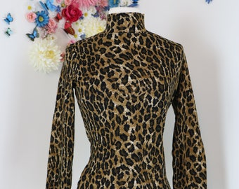 1980s Leopard Animal Print Top - Mock Turtleneck - Long Sleeve Pullover - Polo High Neck - Jones New York - Sexy - Size S/M - Winter Fall