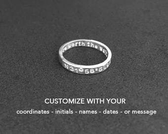 Long Distance Ring, Coordinate ring, Best Friend Ring, Latitude Longitude Ring, LDR Gift, Boyfriend, Girlfriend, For Her, For Him, Sister