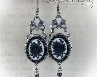 Victorian Style Black Rose Earrings Cameo Beaded Gothic Bridal Earrings