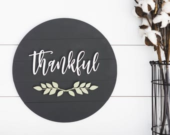 Thankful wood sign, Thankful sign, Home Decor Signs, Wooden round sign, Wedding gift ideas, Housewarming gift, farmhouse decor