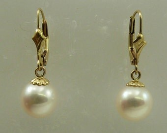 Freshwater Round White Pearl Earring 14k Yellow Gold