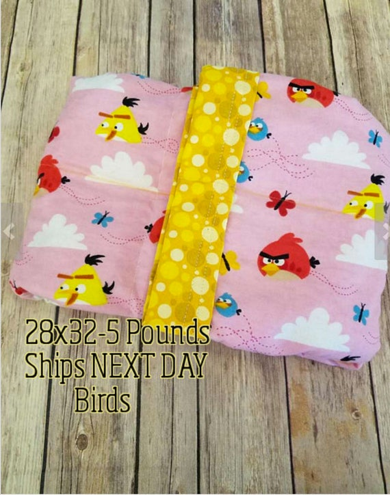 Bird, 5 Pound, WEIGHTED BLANKET, 5 pounds, 28x32, for Autism, Sensory, ADHD, Calming, Anxiety