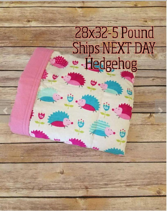 Hedgehog, 5 pound, WEIGHTED BLANKET, Ready To Ship, 5 pounds, 28x32, for Autism, Sensory, ADHD, Calming, Anxiety,