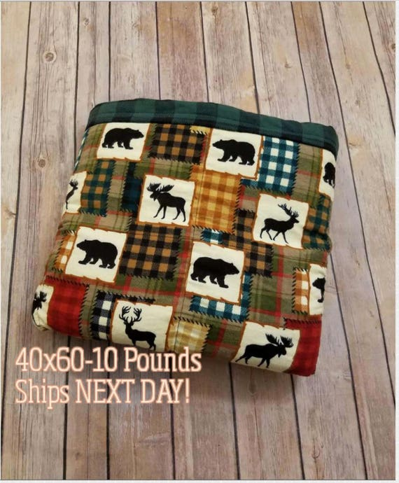 Weighted Blanket, 10 Pound, Wildlife Plaid, 40x60, READY TO SHIP, Twin Size, Adult Weighted Blanket, Next Business Day To Ship