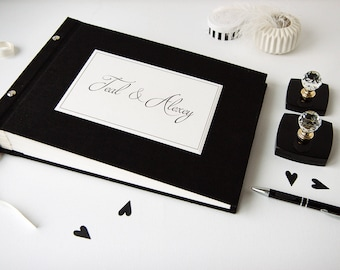 Black Instax Guest Book, Instax Mini Pictures, Linen guest book, From OreDesignSpace