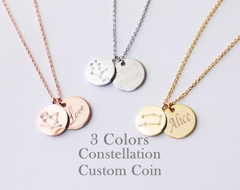 Constellation Initial Necklace, 2 Coins Necklace, Coin Name Necklace, Engraved Necklace,Custom Necklace,Zodiac Necklace,Double Coin Necklace