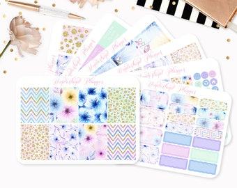 Spring Florals - Sticker Kit or A La Carte Sheets - Pastel Flower Themed Planner Weekly Kit - 180+ Stickers - Erin Condren Vertical Planner