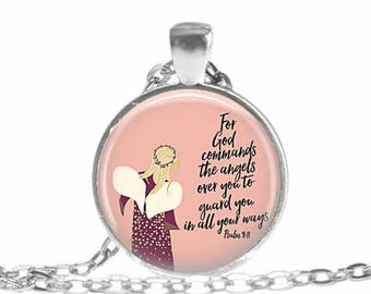 Bible Verse Necklace, Psalm 91:11, For God Commands His Angels, Psalm Necklace, Scripture Jewelry, Christian Gift