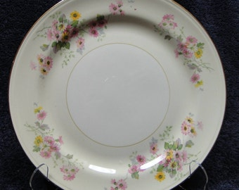 "Homer Laughlin Eggshell Pink Yellow Daisies Dinner Plates 9 3/4"" EXCELLENT!"