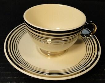 Taylor Smith Taylor Platinum Bands Rings Tea Cup Saucer SET 601 EXCELLENT!