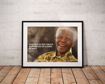 Nelson Mandela, Quote poster, Typographic print, Inpirational Genius Quote, Sizes A4-A0