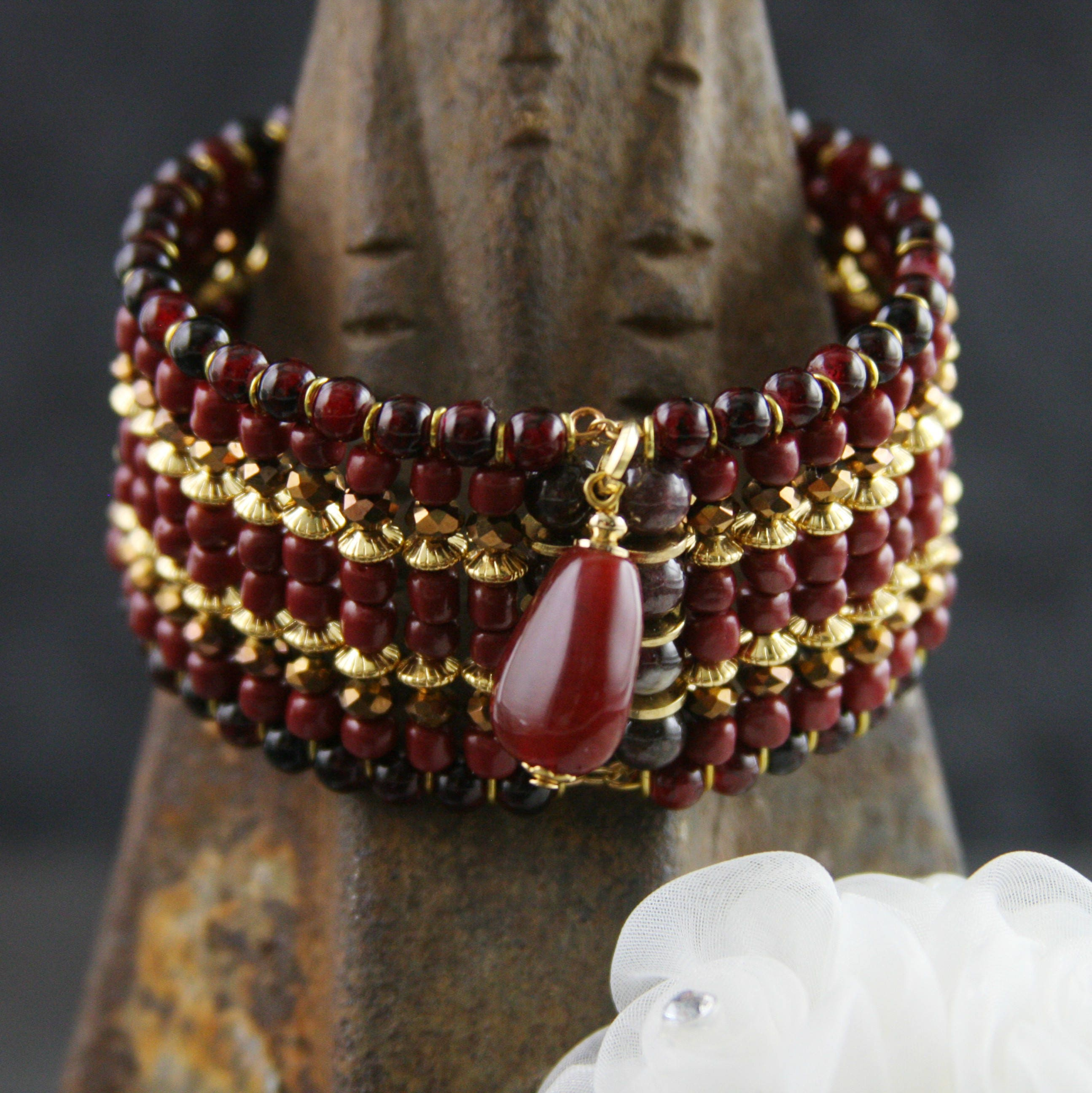 garnet genuine off p il red bracelet signed silver gemstone sterling fullxfull womens adjustable