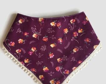 Plum Floral Bandanna Bib