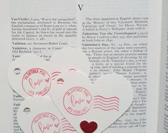 Valentine's Day Gift Tags, Gift Tag Set, Gift Wrapping, Jumbo Heart Tags, Postmark Tags, Love Tags
