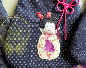 Blue Patterned Japanese Style Applique Small Fabric Bag. Cotton Geisha, Samurai, Decorative Hand Painted, Embroidered Purse, Gift, Fashion.