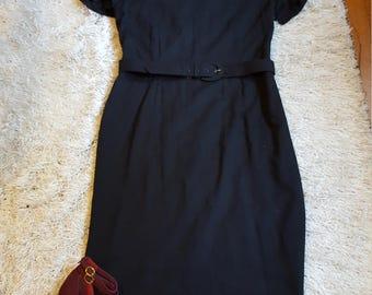 Vintage Leslie Fay Belted Black Midi Dress W/ Short Sleeves