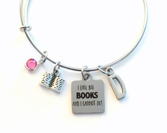 Gift for Friend Charm Bracelet, I like big books and I cannot lie Jewelry, Funny Joke Initial Birthstone present women her mom Librarian BFF