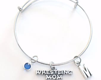 Wrestling mom Charm Bracelet Bangle Wrestling Jewelry Silver initial Gift for Wrestle Team Girl Initial birthstone Birthday present mother