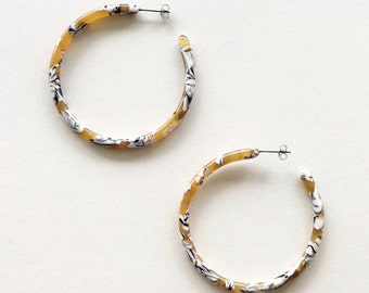 Calico Tortoise Hoop Earrings Large Open Hoop Minimalist Handmade Hoops