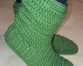 slippers boots, crochet boots, socks, home shoes, women's home boots, green slippers, wool boots