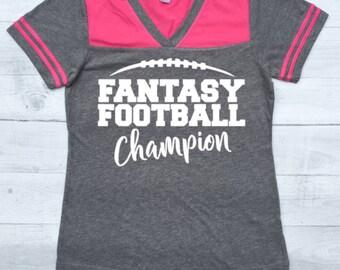 Personalized football mom shirt raglan baseball tee women for Fantasy football league champion shirt