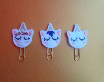 Set Of 3 Sleepy Unicorn Sparkle - PaperClip - Felt Planner Clip - Planner Accessory - Stationery - Cute Paper Clip - Bookmark - Planner Clip