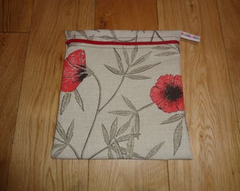 Snack Bag - Bikini Bag - Lunch Bag - Sandwich bag  - Baggie - Eco - Craft Bag - Large Poppins Waterproof Lined Zip Pouch  -Poppy Linen