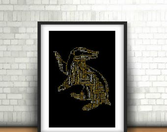 INSTANT DOWNLOAD - Hufflepuff Word Art Print