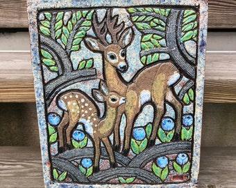 Big Swedish pottery ceramic stoneware relief/ deer blueberry tree / Thomas Hellström Nittsjö/ Sweden Scandinavia / 60s