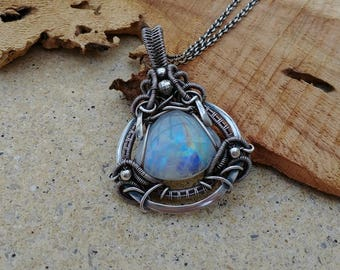 Sterling silver wire wrapped pendant, Rainbow Moonstone pendant, wire wrapped jewelry, oxidized sterling silver necklace, Victorian wirewrap