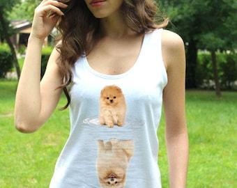 Pomeranian Shirt Pomeranian Tee Pomeranian Tshirt Puppy Pomeranian Tee Shirts Funny Dog Breeds Lady White Top Mirror Shirts Art