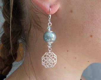 Earrings sleepers silver, iridescent grey blue ceramic, Crystal, pinwheel