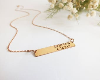 Silver Bar Necklace Coordinates Initial Necklace Name Necklace Personalized Birthday Gift Mother of The Bride Gift Mother Daughter Necklace