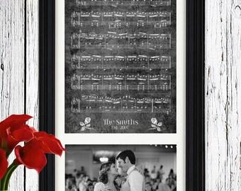 Music Sheet Art Wedding Photo Wedding Gift for Bride Gift to Husband Gift First Dance Song Lyrics Wall Art 6th Anniversary Gift for Men