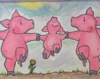 WEE...Wee...Wee! 5x7 (matted 8x10) Original Watercolor