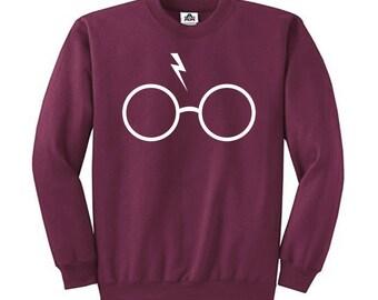 HARRY POTTER Glasses with Lightning Bolt Scar Sweatshirt Sweater Long Sleeve Shirt Shirts H-RS02