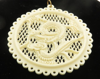Antique Intricate & Detailed Hand Carved Bone Medallion / Pendant w/ Dragon.