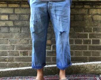 Beautiful Bleached Pair of Vintage Workwear Chore Trousers/ Pants