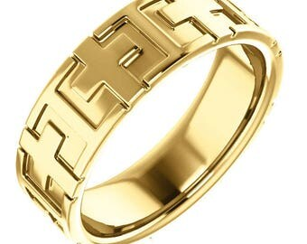 Mens 14K Yellow Gold Cross Wedding Band Religious Jewelry Ring