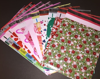 100 You Choose 10x13 Designer CHRISTMAS and VALENTINE Poly Mailers Deer Hollyberry Stars Candy Hearts Roses Cupcakes Shipping Bags Christmas