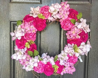 Pink Spring Wreath Wall Decor- 18 or 24 inches- Grapevine Floral Wreath- Front Door Wreath-Kitchen Wall Decor-Spring Wall Decor