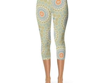 Capris for Women Elastic Waist - Yoga Leggings, Green and Orange Mandala Art Leggings