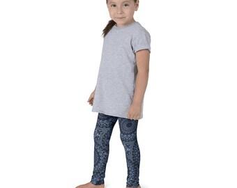 Dark Blue Leggings for Girls, Kids Leggings, Children's Yoga Pants, Printed Leggings