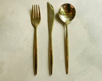 Set of 3 Gold Plated Flatware