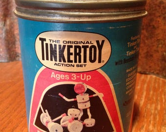 Vintage TinkerToy Fork Lift and Driver Set, No. 194, Tinker Toy Action Set (1970s) Made in the USA